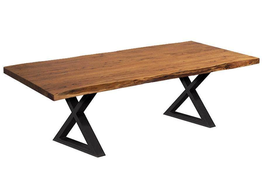 "Corcoran Table Black X Legs 96"" Live Edge Acacia Table - Available with 8 Leg Styles"