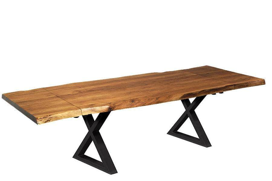 "Corcoran Table Black X Legs Extendable Live Edge Acacia Table L 64"" (96"") - Available with 6 Leg Styles"