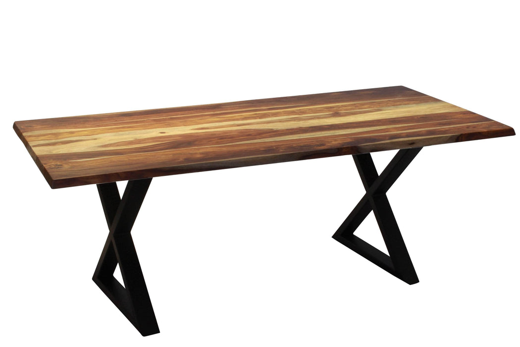 Corcoran Table Black X Legs Sheesham 80'' Dining Table - Available with 4 Leg Styles
