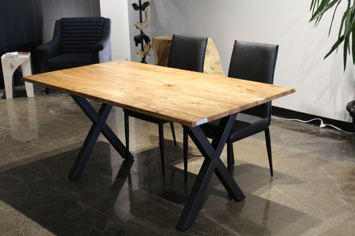 Corcoran Table Black X Legs Straight Edge Acacia Table L 67'' with Black X Legs