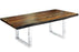 "Corcoran Table Stainless Steel U Legs 72"" Live Edge Grey Sheesham Table - Available with 6 Leg Styles"