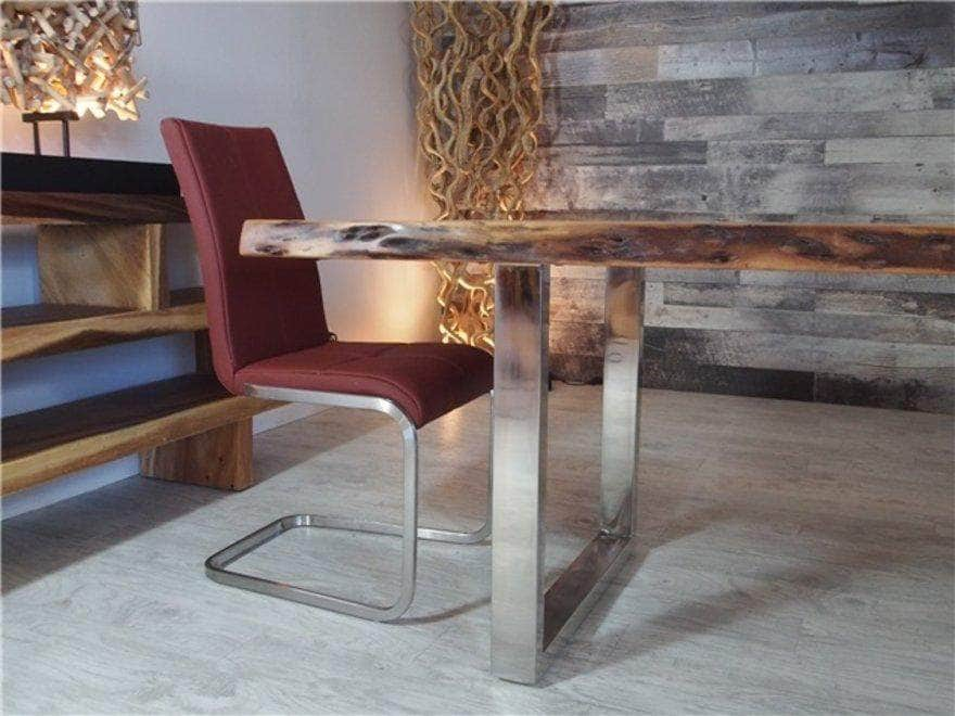 "Corcoran Table Stainless Steel U Legs 72"" Live Edge  Sheesham Table - Available with 6 Leg Styles"