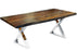 "Corcoran Table Stainless Steel X Legs 72"" Live Edge Grey Sheesham Table - Available with 6 Leg Styles"