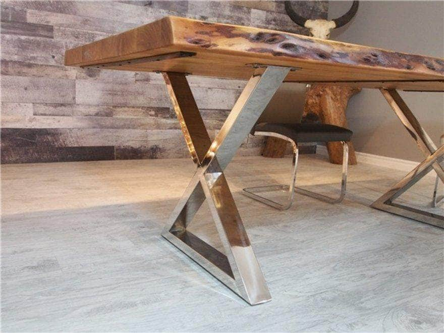 "Corcoran Table Stainless Steel X Legs 72"" Live Edge  Sheesham Table - Available with 6 Leg Styles"