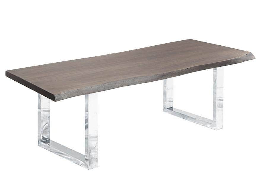 "Corcoran Table Stainless U Legs 84"" Live Edge Grey Acacia Table - Available with 8 Leg Styles"