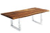 "Corcoran Table Stainless U Legs 84"" Live Edge Sheesham Table - Available with 8 Leg Styles"