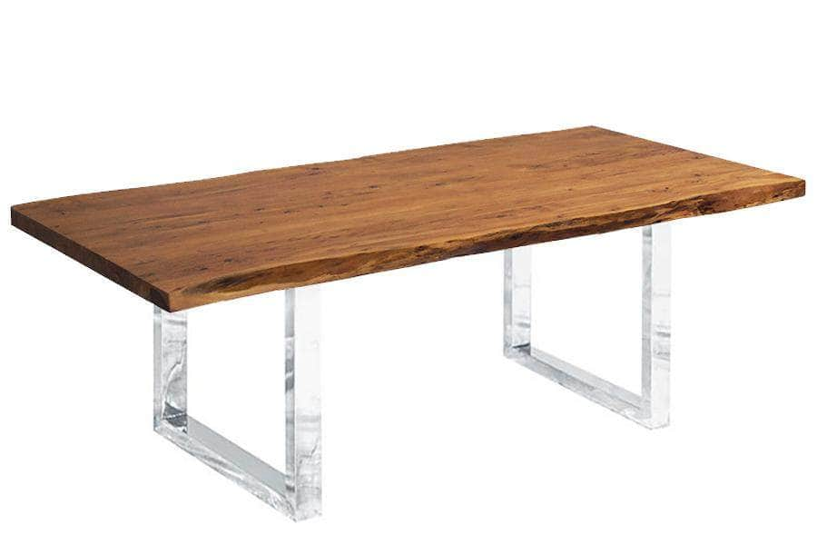 "Corcoran Table Stainless U Legs 96"" Live Edge Acacia Table - Available with 8 Leg Styles"