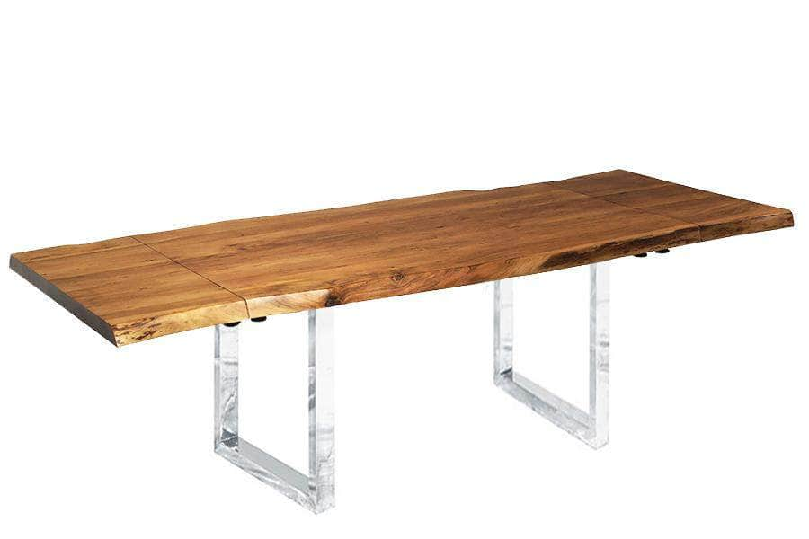 "Corcoran Table Stainless U Legs Extendable Live Edge Acacia Table L 64"" (96"") - Available with 6 Leg Styles"