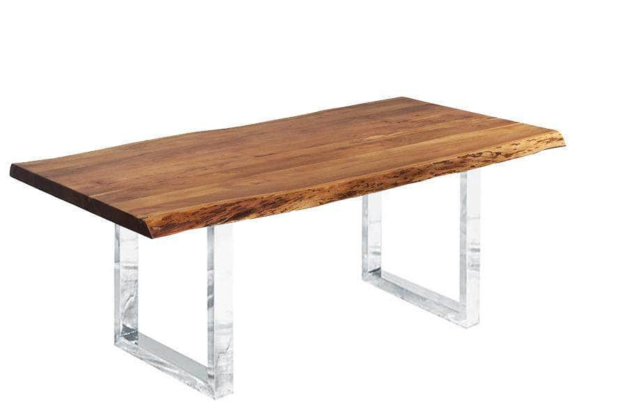 "Pending - Corcoran Table Stainless U Legs Live Edge Acacia Table L 72"" - Available with 6 Leg Styles"