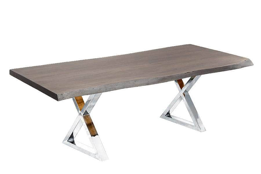 "Corcoran Table Stainless X Legs 84"" Live Edge Grey Acacia Table - Available with 8 Leg Styles"