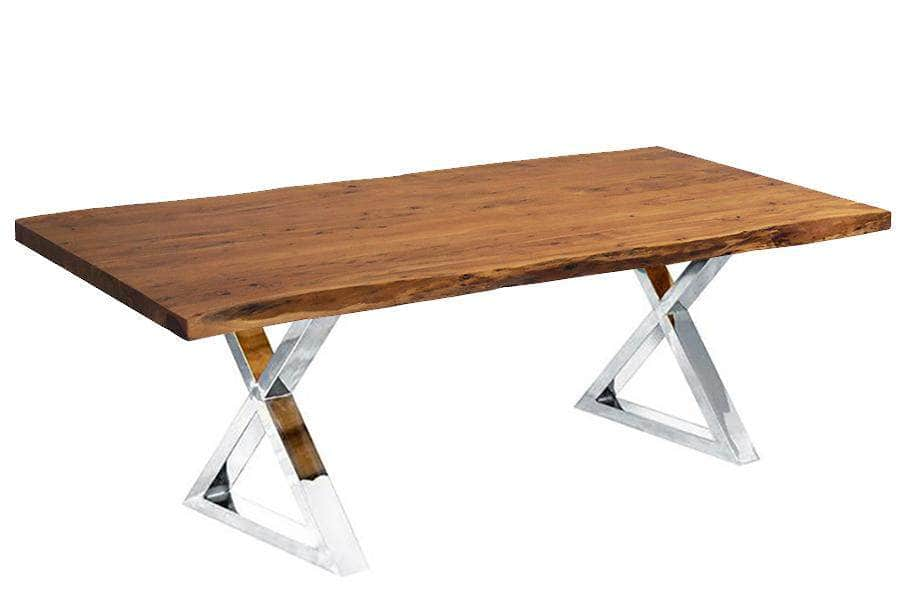 "Corcoran Table Stainless X Legs 96"" Live Edge Acacia Table - Available with 8 Leg Styles"