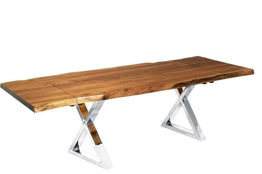 "Corcoran Table Stainless X Legs Extendable Live Edge Acacia Table L 64"" (96"") - Available with 6 Leg Styles"