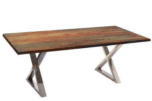 Corcoran Table Stainless X Legs Grey Sheesham 80'' Dining Table - Available with 4 Leg Styles