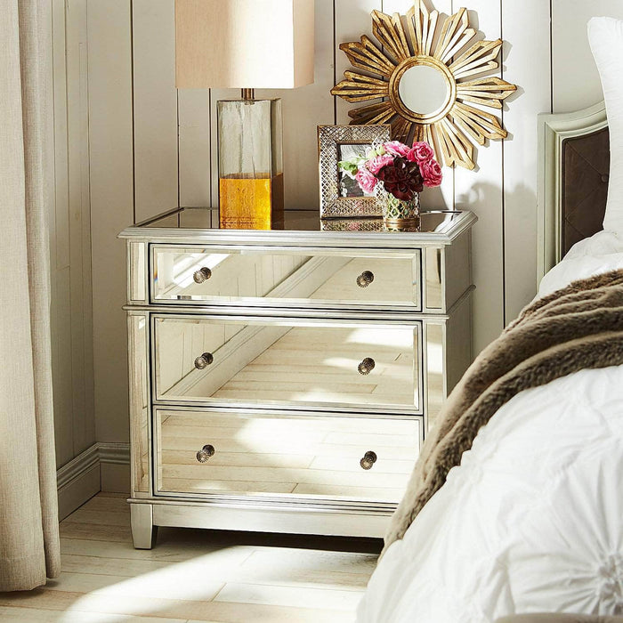 Danielle Mirrored 3 Drawer Dresser - Silver