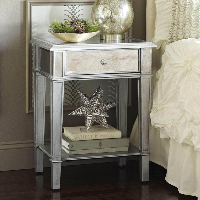 Danielle Mirrored 1 Drawer Nightstand - Silver