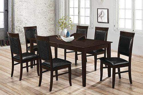 Pending - IFDC 7 Piece Dining Set - Faul Leather Seat/Back Chairs