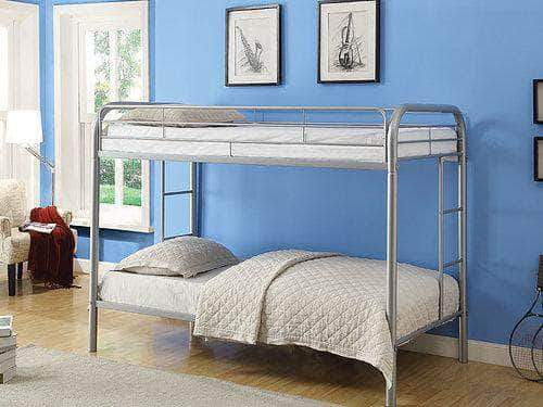 Pending - IFDC Grey Twin over Twin Metal Bunk Bed - Available in 3 Colours