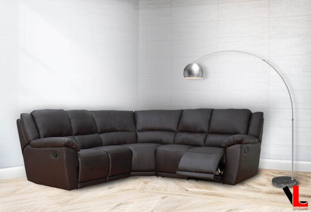 Pending - Levoluxe Sectional Cameron Reclining Corner Sectional in Chocolate Leather Match