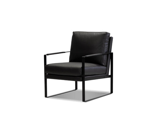 Mobital Arm Chair Black Mitchell Leather Arm Chair With Black Powder Coated Steel Frame - Available in 2 Colours