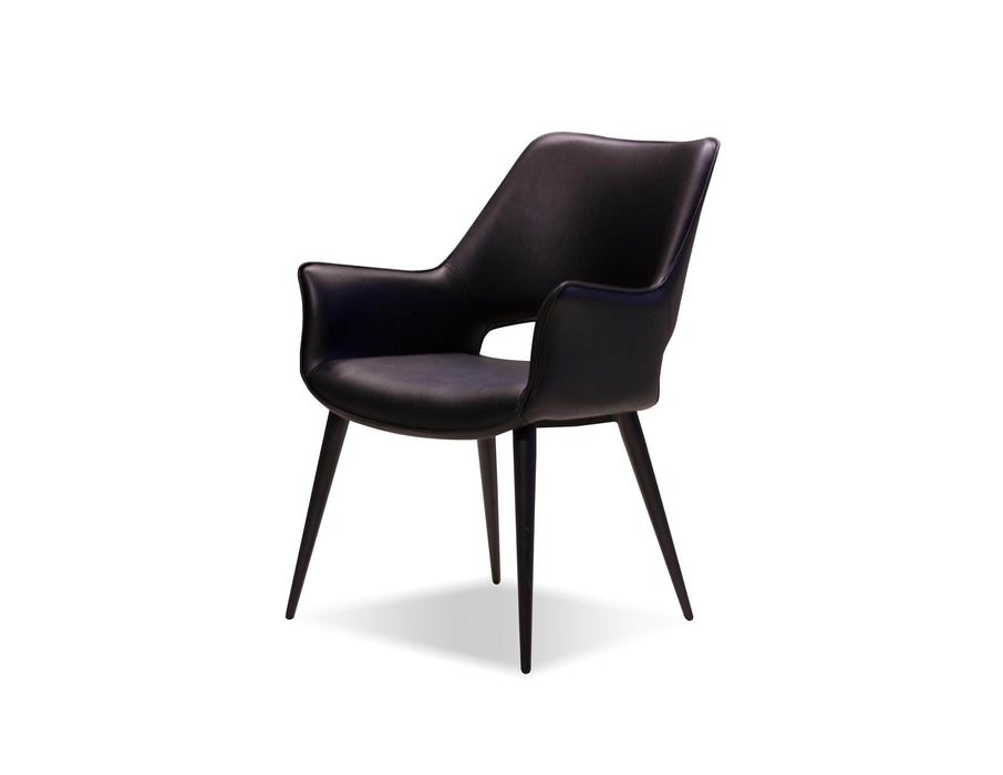 Mobital Arm Chair Black With Black Metal Frame Stratford Leatherette Arm Chair - Available in 2 Colours