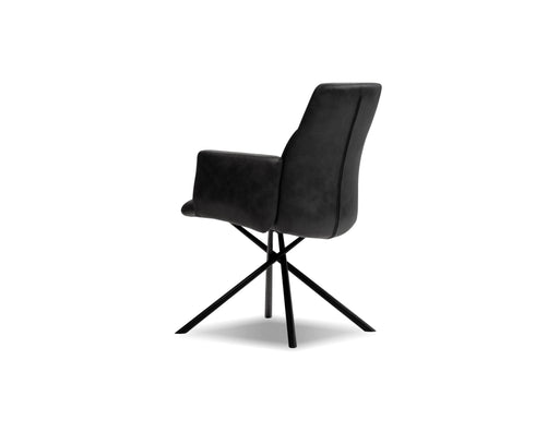 Mobital Arm Chair Midnight Grey Chavez Arm Chair Midnight Grey Leatherette, Black Powder Coated Legs