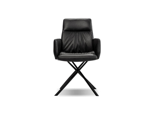 Mobital Chavez Arm Chair in Midnight Grey Leatherette with Black Powder Coated Legs