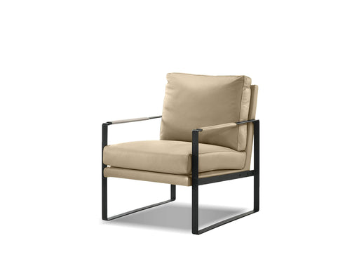 Mobital Arm Chair Wheat Mitchell Leather Arm Chair With Black Powder Coated Steel Frame - Available in 2 Colours