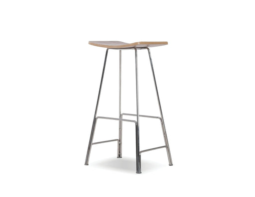 Mobital Sitges Bar Stool with American Walnut Veneer Seat and Polished Stainless Steel