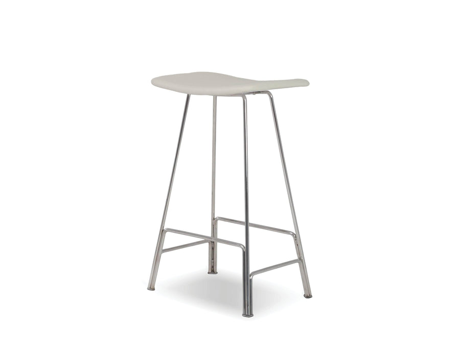 Mobital Bar Stool White Canaria Leather Bar Stool With Black Powder Coated Steel - Available in 2 Colours