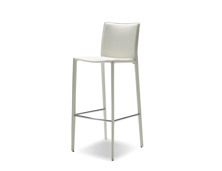 Mobital Zak Bar Stool in White Full Leather Wrap (Set of 2)