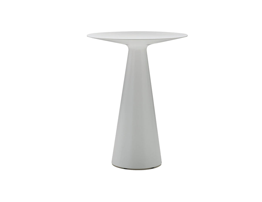 Mobital Maldives Round Bar Table in White with Grey Epoxy Cement Base