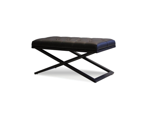 "Mobital Bench Black Crosstown 36"" Wide Small Bench Black Leatherette With Matte Black Powder Coated Steel"