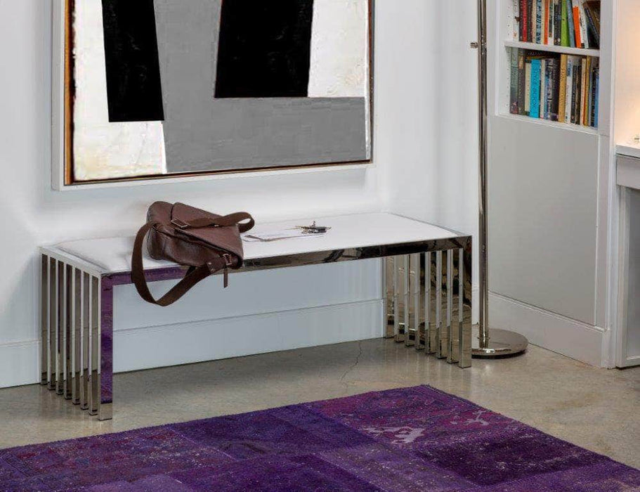 Mobital Kade Bench in White Leatherette with Polished Stainless Steel