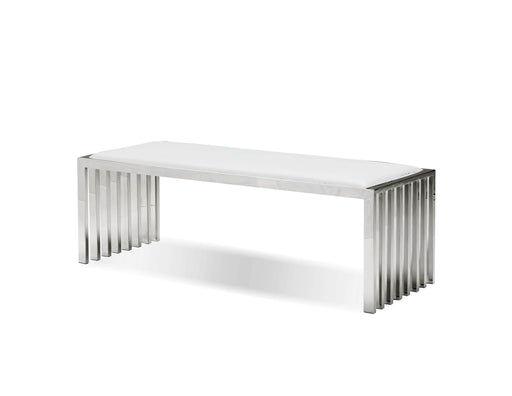 Mobital Bench White Kade Bench White Leatherette With Polished Stainless Steel