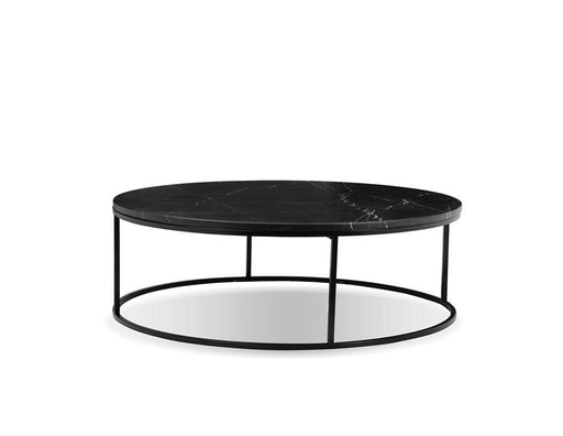 "Mobital Onix 39"" Round Coffee Table with Black Nero Marquina Marble Top and Black Powder Coated Steel"