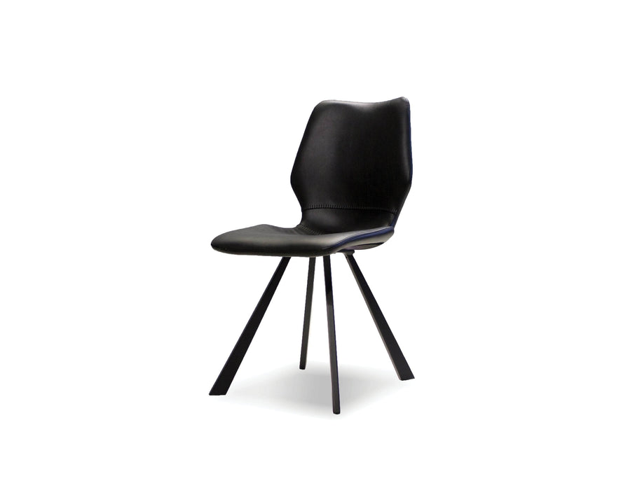 Mobital Dining Chair Black Bernadette Leatherette Dining Chair With Black Powder Coated Metal Set Of 2 - Available in 2 Colours
