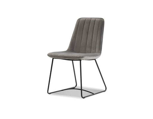 Mobital Dining Chair Pewter Velvet Zipper Dining Chair Pewter Velvet, Black Powder Coated Legs Set Of 2