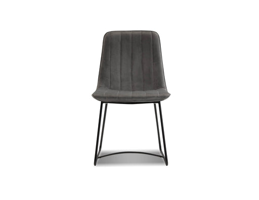 Mobital Zipper Dining Chair in Pewter Velvet with Black Powder Coated Legs (Set of 2)
