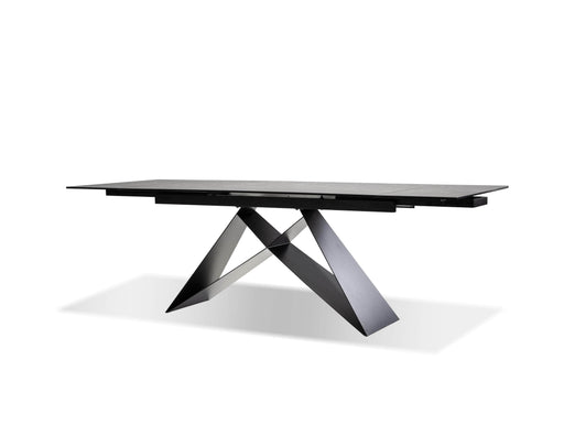 Mobital Dining Table Black The W Dining Table Ceramic Tempered Glass Top With Black Powder Coated Frame