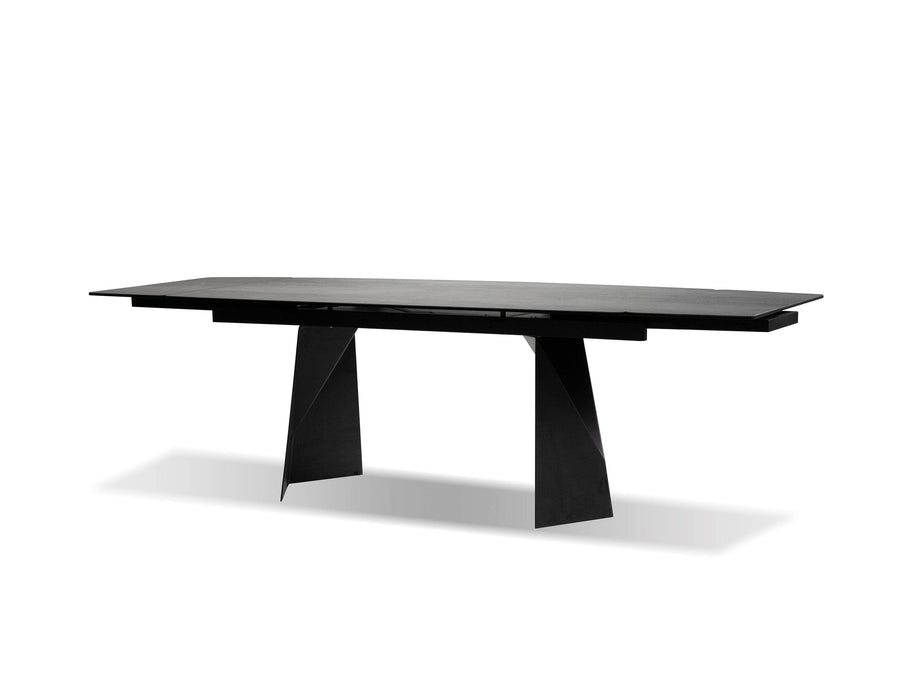 Mobital Prism Extending Dining Table with Industrial Grey Ceramic Top and Black Powder Coated Base