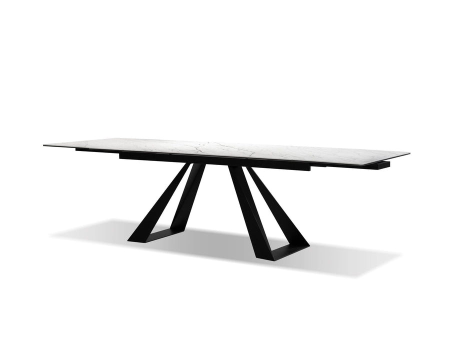 Mobital Bridge Dining Table In White Carrera With Black Powder Coated Base