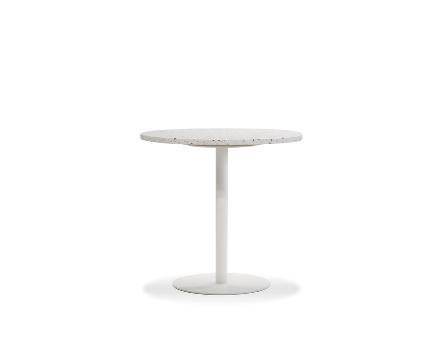 Mobital Razor 30 Inch Round Dining Table with White Terrazo Marble Top and White Base