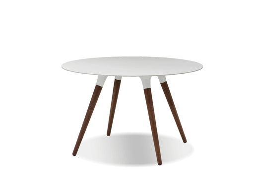 "Mobital Iztuzu 47"" Round 29"" High Dining Table with White Solid Surface and Walnut Base"