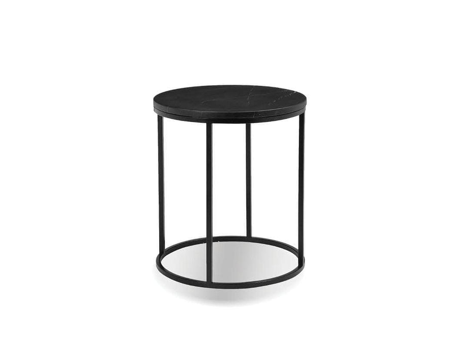 "Mobital Onix 21"" Round End Table with Black Nero Marquina Marble Top and Black Powder Coated Steel"