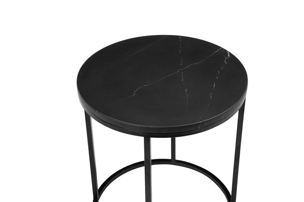 "Mobital End Table Black Onix 21"" Round End Table Black Nero Marquina Marble With Black Powder Coated Steel"