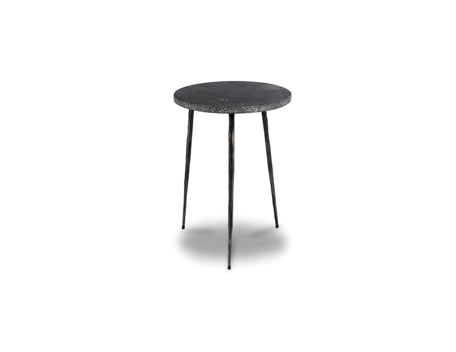 "Mobital End Table Black Spanish Nero Marquina Marble Kaii 18"" Tall End Table With Distressed Forged Black Iron Legs - Available in 3 Colours"