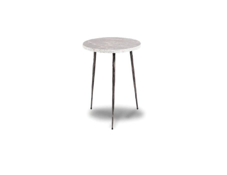 "Mobital End Table Grey Italian Marble Kaii 18"" Tall End Table With Distressed Forged Black Iron Legs - Available in 3 Colours"