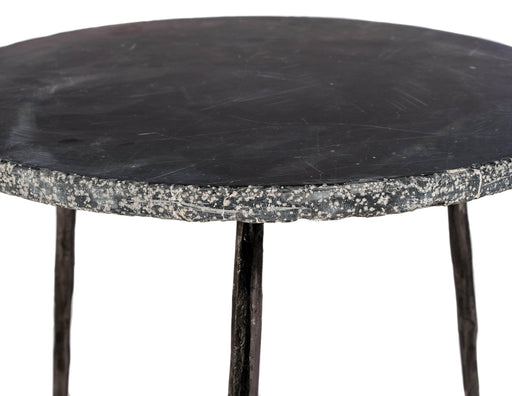 "Mobital End Table Kaii 13"" Low End Table With Distressed Forged Black Iron Legs - Available in 3 Colours"