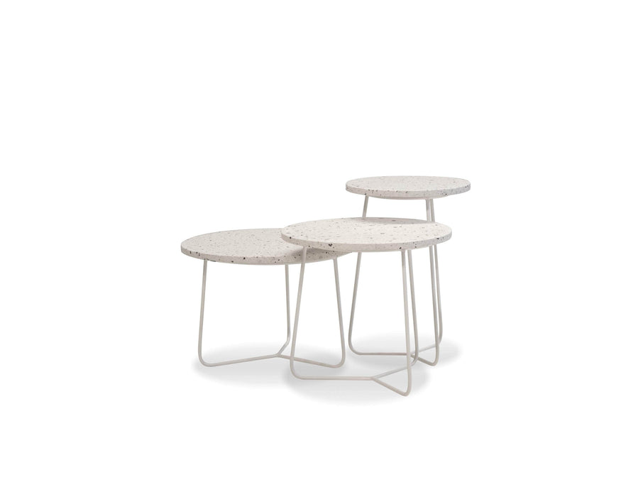 Mobital Rizzo Round End Table with White Terrazo Marble Top and White Base