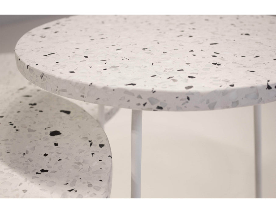 Mobital End Table Rizzo End Table White Terrazo Marble With White Base - Available in 3 Sizes